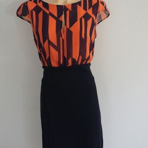 MNG Navy & Coral  Work / Office Dress Size M